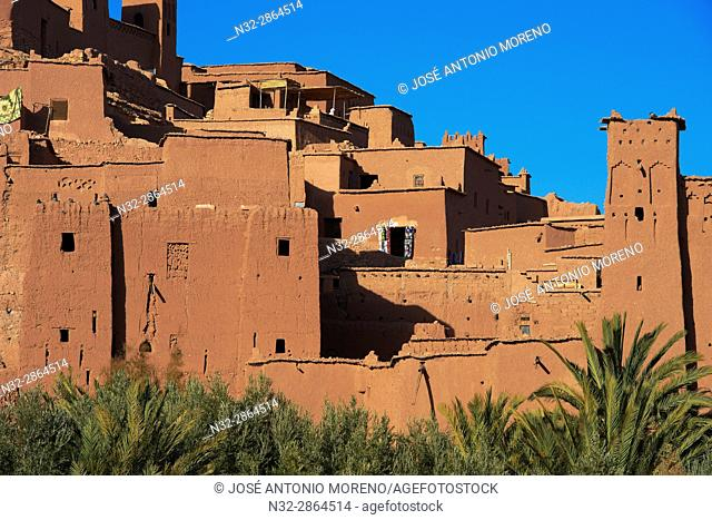 Ait Benhaddou Kasbah, Morocco, High Atlas Mountains, ksar Ait Benhaddou, Ouarzazate Province, Souss-Massa-Draâ region, UNESCO World Heritage Site, Maghreb