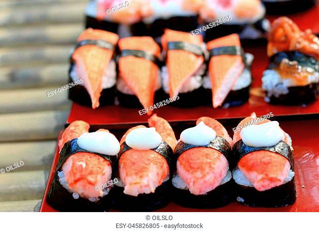 Japanese sushi - sushi egg, shrimp, crab stick, seaweed