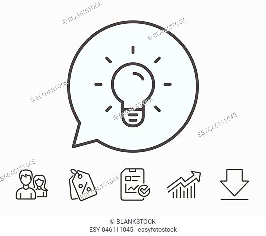 Light Bulb line icon. Lamp sign. Idea, Solution or Thinking symbol. Report, Sale Coupons and Chart line signs. Download, Group icons. Editable stroke
