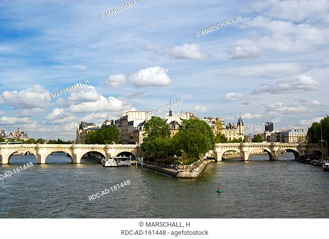 Pont Neuf Ile de la Cite river Seine Paris France river island