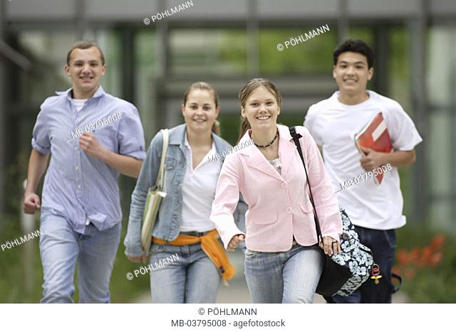 Students, school buildings, left,  running, cheerfully, detail  Series, 15-18 years, school colleagues, schoolmates, Friends, four, clique