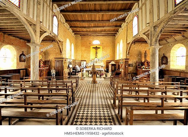 France, Aisne, Parfondeval, inside of the Saint Medard fortified church