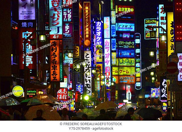 Night view of Kabukicho, red light district of Shinjuku, Tokyo, Japan, Asia