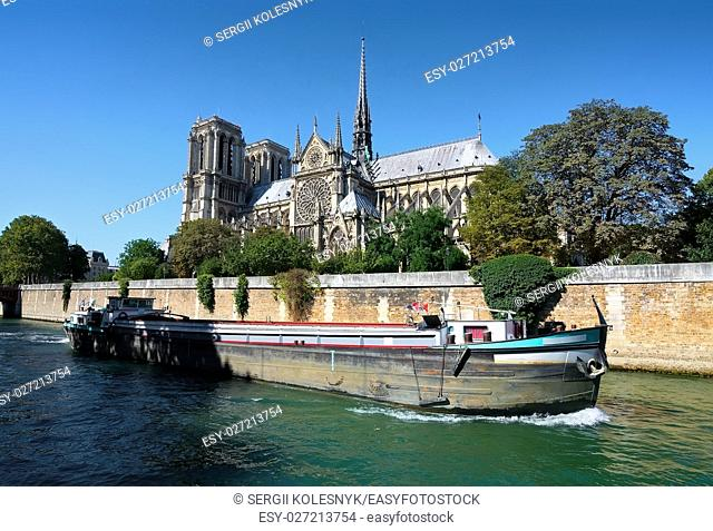 View on Notre Dame de Paris at summer day, France