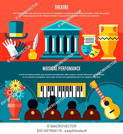 Two theatre horizontal banner set with musical performance headline and theater building vector illustration