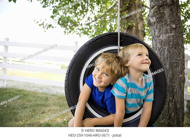 Playful boys on a tire swing