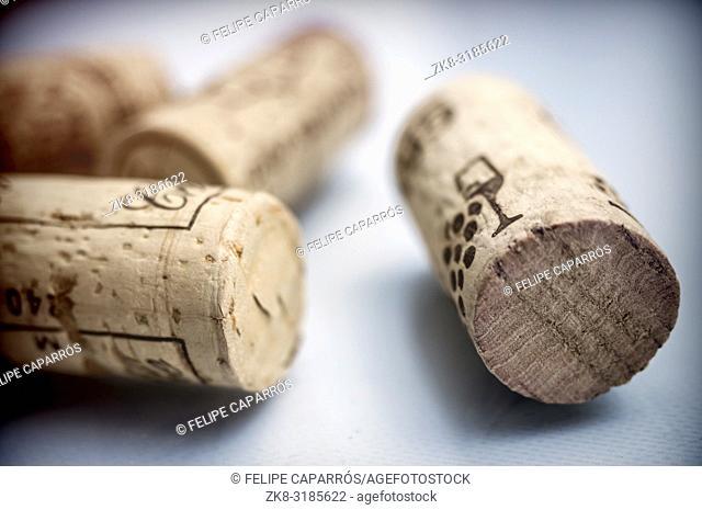Cork of bottle of wine isolated on black background