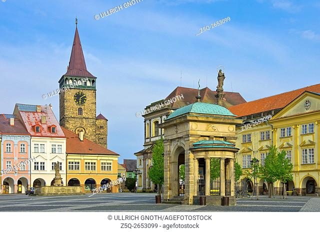 Wallenstein Square, which shows Valdice Gate, Jacob's Church, Coronation Well and Chateau in the town of Jitschin, Czech Republic