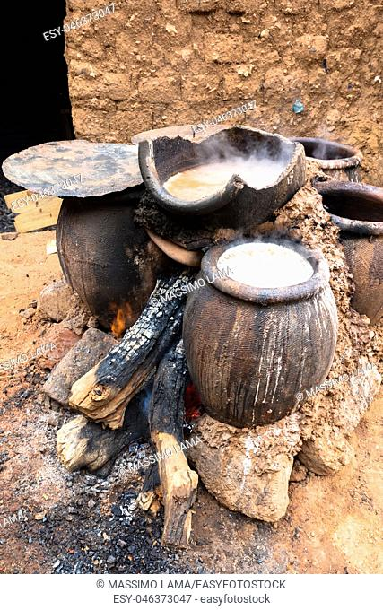 Cooking the millet beer, Bobo-Dioulasso, Burkina Faso