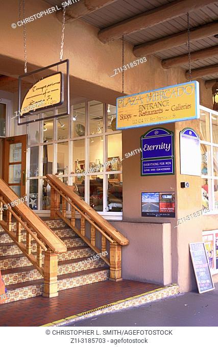 Plaza Mercado shopping area on W. San Francisco Street in downtown Santa Fe, New Mexico USA