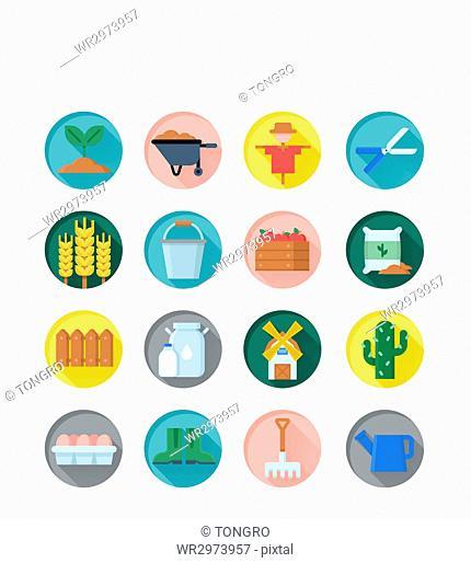 Icon set related to farming