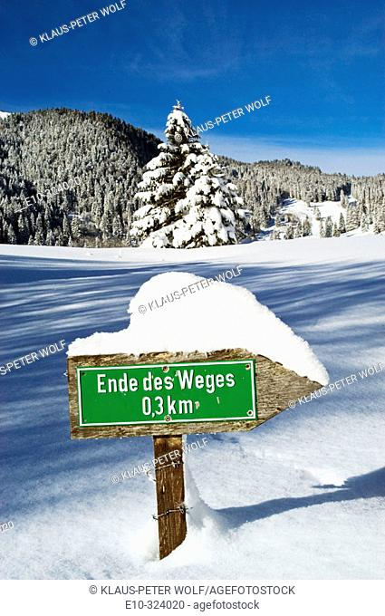 Guidepost 'Ende des Weges' (End of the Way) in the Valepp, valley near Spitzingess lake. Spitzing. Upper Bavaria. Germany