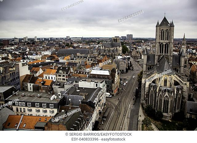 View of Ghent from the height, detail of Belgium, tourism
