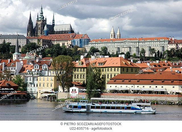 Prague Czech Republic, boat along the Vlatva, at the bottom of Mala Strana and Hradcany