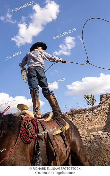 A Mexican charro or cowboy practices roping skills on his horse before a  Charreada competition at f0e602a4cf3a