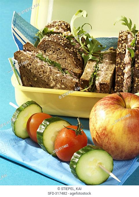 Finnenbrot dark wholemeal bread sandwiches with rocket