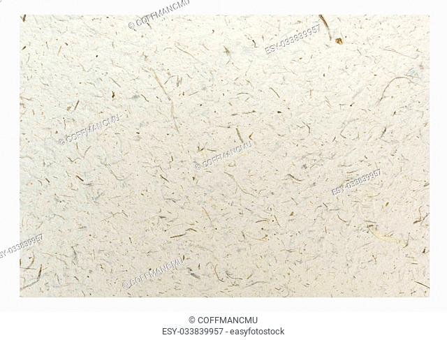White Craft eco textured paper sheet. Handmade paper texture(Sa Paper) Isolated on white background