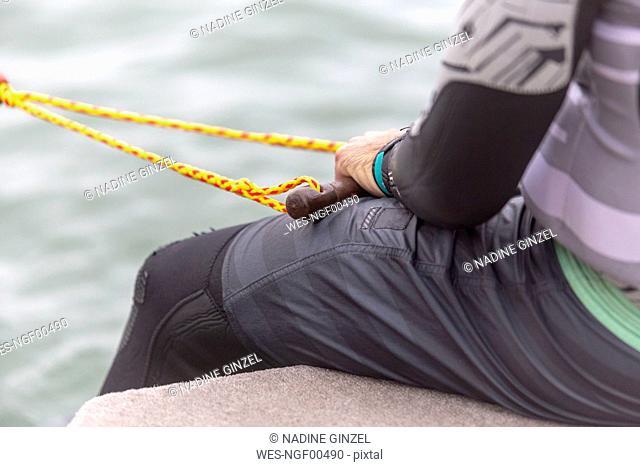 Waterski, man holding rope