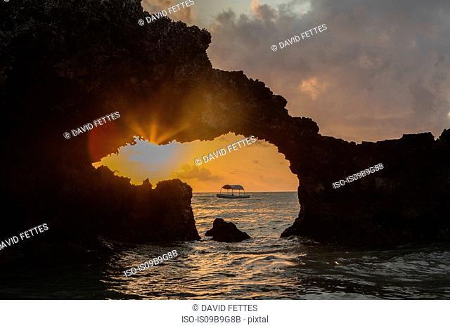 Coastal rock formation at sunset, Zanzibar,Tanzania, Africa