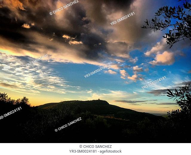 Clouds over Matrera Castle in Prado del Rey, Sierra de Cadiz, Andalusia, Spain