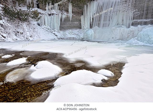 Ice formations on the Kagawong River below Bridal Veil Falls, Kagawong, Manitoulin Island, Ontario, Canada