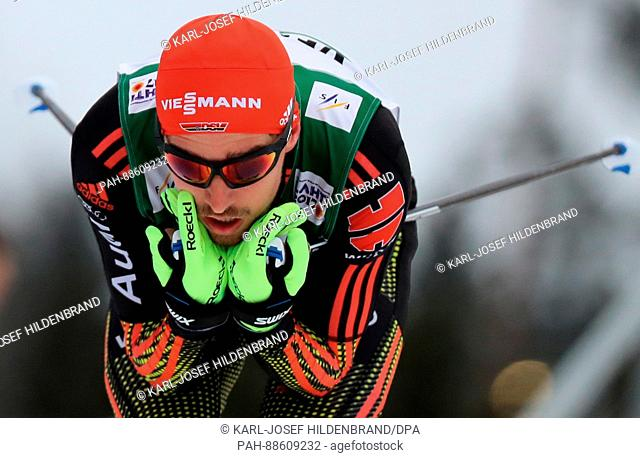 German Johannes Rydzek in action at the Nordic Ski World Championship in Lahti, Finland, 01 March 2017. Photo: Karl-Josef Hildenbrand/dpa | usage worldwide