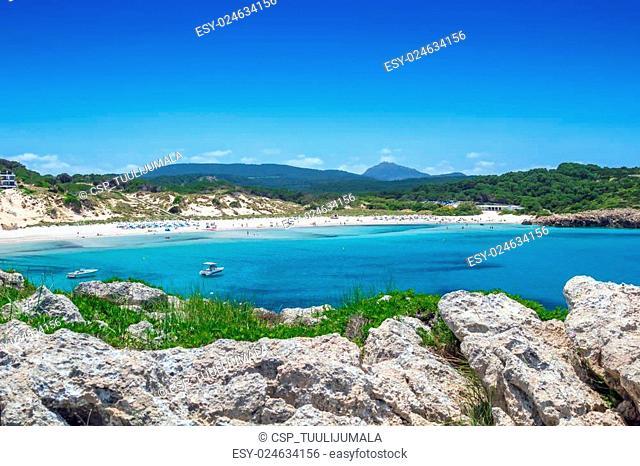 Arenal de Son Saura beach at Menorca island, Spain