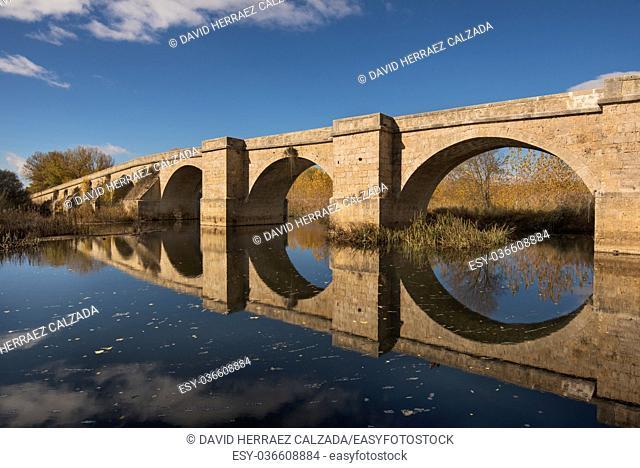 Fitero bridge, is a medieval bridge over Pisuerga river in St James way (camino de santiago) in Palencia, Spain