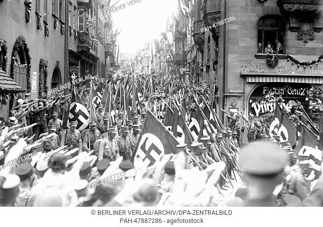 Nuremberg Rally 1933 in Nuremberg, Germany - Parade of the SA (Sturmabteilung) in Koenigsstrasse in Nuremberg. (Flaws in quality due to the historic picture...