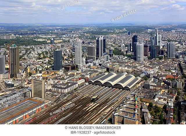 Aerial view, main station, central startion quarter, financial district, Frankfurt am Main, Hesse, Germany, Europe