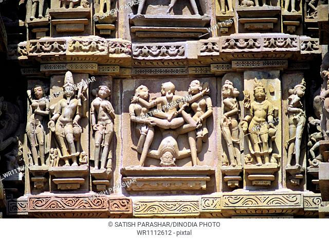 Khajuraho mithuna couples on wall of lakshmana temple madhya pradesh India