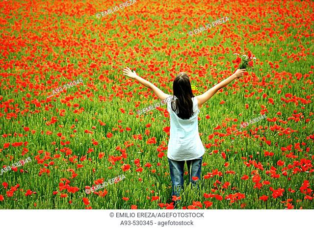 Woman lying on a poppies field