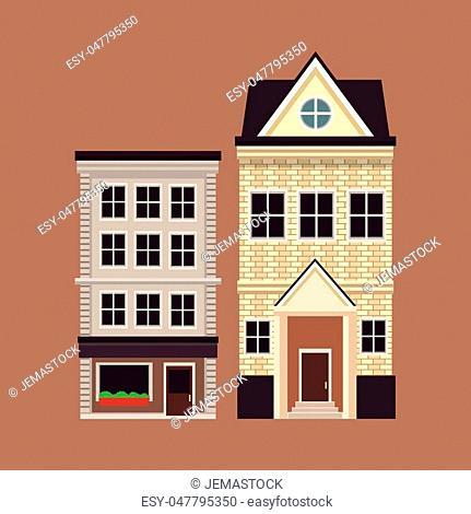 old buildinf style european facade vector illustration eps 10