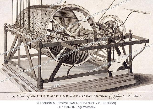 View of the chime machine at St Giles without Cripplegate, London, c1750
