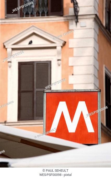 Italy, Rome, Ottaviano Station, Metro sign, close up