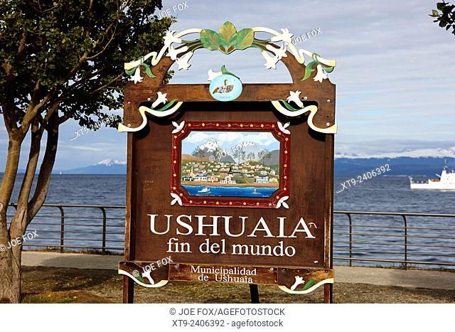 Ushuaia fin del mundo end of the world sign Argentina