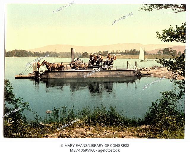 Windermere, steam ferry, Lake District, England. Date between ca. 1890 and ca. 1900