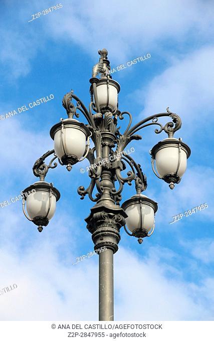 Lamppost detail at Piazza Unita de Italia Main square in Trieste Italy