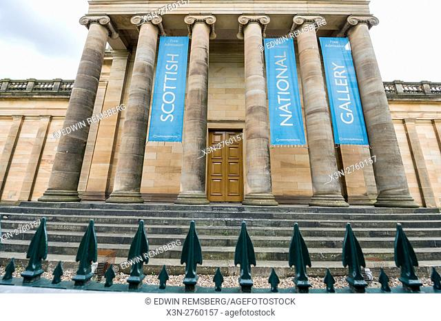 UK, Scotland, Edinburgh - The Scottish National Gallery in Edinburgh, Scotland's compact, hilly capital. It has a medieval Old Town and elegant Georgian New...