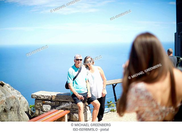Tourists posing for photograph, Cape Town, Western Cape, South Africa