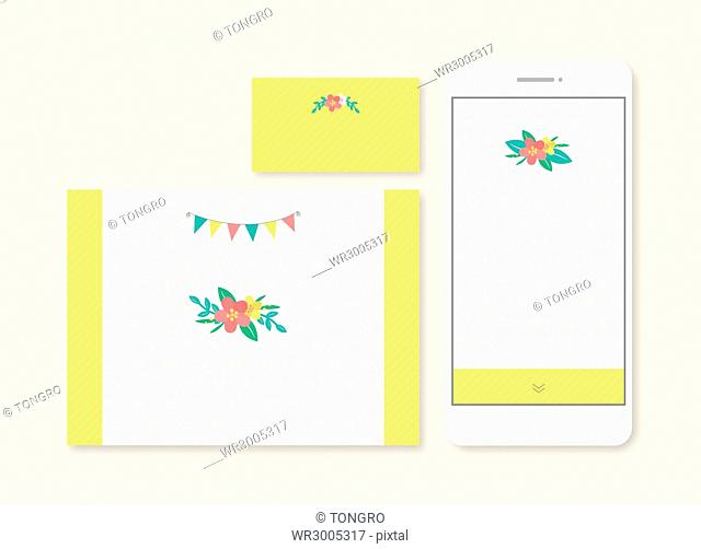 Set of wedding invitations and business card