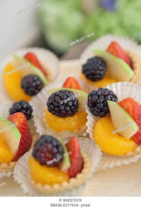 Close up of fresh fruit desserts