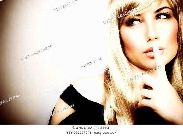Woman expressions hush