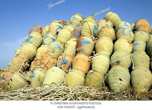 pieces of pottery used for octopus fishing, harbor of Borj Jillij, Djerba island, Tunisia, North Africa