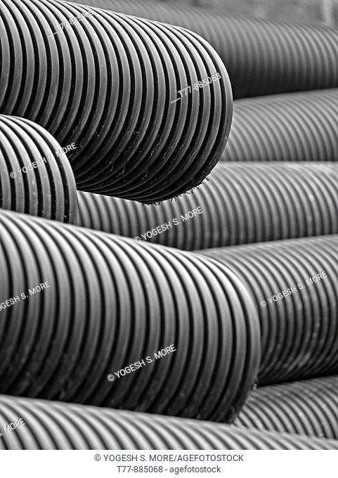 Fiber optics, plastic tubes, plastic conduit on construction site