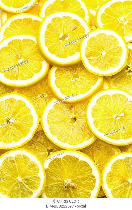 Pile of fresh lemon slices