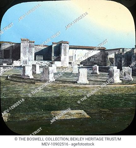 Coloured lantern slide of the fountain in the Pantheon temple at Pompeii, Italy. Part of Box 214, Italy Coloured, Boswell Collection. Slide number 39