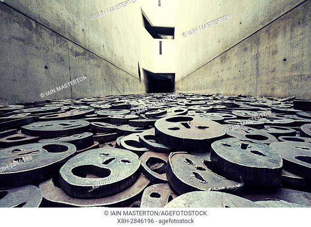 "Memory Void containing work """"Fallen Leaves"""" by artist Menashe Kaddishman at Jewish Museum , in Berlin, Germany (Leerstelle des Gedenkens)"
