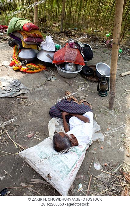 Erosion by the Padma river near the Mawa many people lost their land in the erosion in Padma, They are now homeless