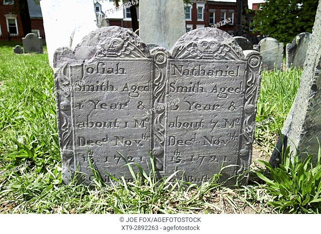 double grave gravestones for two young children josiah and nathaniel smith who died in 1721 in copps hill burying ground Boston USA